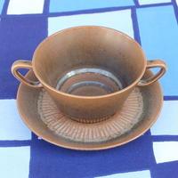 ナブストラップ Knabstrup スープカップ&ソーサー(ブラウン)