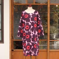 マリメッコ marimekko <Pieni Unikko>七分袖ワンピース(ピンク)大きなサイズ