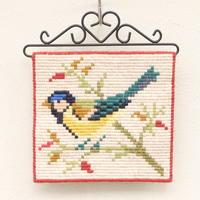 スウェーデン刺繍 タペストリー(鳥・小)C