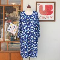 マリメッコ marimekko <Aretta Mini Unikko>七分袖ワンピース(水色×ダークブルー)大きなサイズ