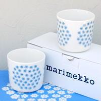 マリメッコ marimekko <Puketti>コーヒーカップ2個セット(ホワイト×水色)日本限定