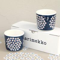 マリメッコ marimekko <Puketti>コーヒーカップ2個セット(ネイビー)