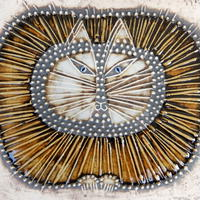 ヴィンテージ リサ・ラーソン Lisa Larson 陶板(丸ネコ)