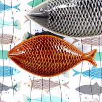 スティグ・リンドベリ Stig Lindberg フラーデン 魚プレート(ブラウン・小)