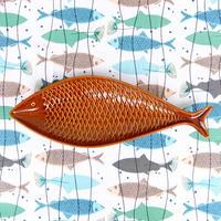 スティグ・リンドベリ Stig Lindberg フラーデン 魚プレート(ブラウン・大)