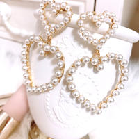 Double pearl heart pierce
