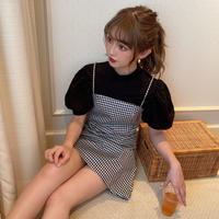 【再再入荷】gingham cami one piece  CL013