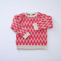 Zig Zag Sweater ECRU×RED (FUB) 140、150cm
