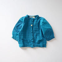 ブロックジャガードの青いカーディガン (wafflish waffle) 100、110cm