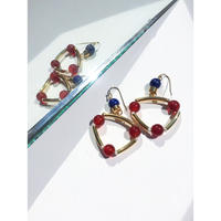 """TRIANGLE"" EARRINGS - RED AGATE x LAPIS LAZULI"