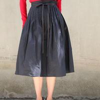タック巻きスカート 183S081 C ブラック