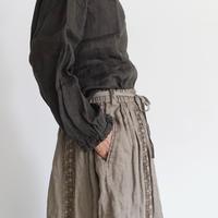 18-0036  硫化染め Linen Lase Skirt / MOCHA