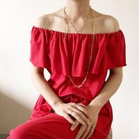 【VACANCES  】smille cotton combinaison  RED