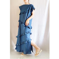 【BOUTIQUE】 chambray frill dress