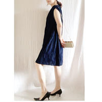 【VINTAGE 】 MURIEL RYAN pleats  dress NAVY