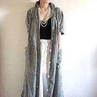 VINTAGE gingham check dress coat    BLACK X OFF WHITE