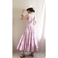 BOUTIQUE stripe cptton  back ribbon dress TE-3500