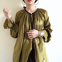 【BOUTIQUE】 silk cotton back ribbon tops  TG-3301  /KHAKI