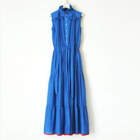 BOUTIQUE cotton silk dot long dress TE-3201 BLUE