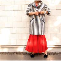 【BOUTIQUE】 stripe coat TO-2800    OFF WHITE X NAVY