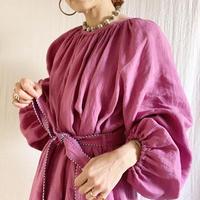 販売終了【予約販売】BOUTIQUE  ramie linen  volume dress  TE-3605 MAZENTA PINK