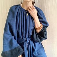 BOUTIQUE  ramie linen  volume dress  TE-3605 BLUE NAVY