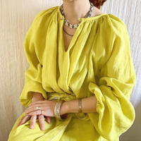 BOUTIQUE  ramie linen  volume dress  TE-3605 LEMON YELLOW