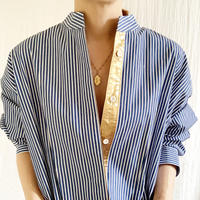 BOUTIQUE stripe X metal shirts dress TE-3502  /BLUE STRIPE
