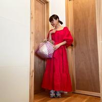 青山有紀さんx BOUTIQUE back ribbon dress  TA-RW-03 (bag付)   RED