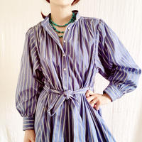 【BOUTIQUE】cotton stripe negligee dress/ BLUE STRIPE