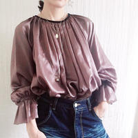 【BOUTIQUE】 silk cotton back ribbon tops  TG-3301/GRAYSH PURPLE