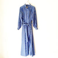 予約販売【BOUTIQUE】cotton stripe negligee dress/ BLUE STRIPE