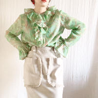 VINTAGE  merley paisley frill tops /GREEN