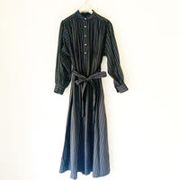 【BOUTIQUE】cotton stripe negIigee dress  / GREEN STRIPE