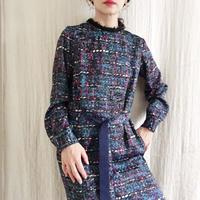 在庫なしBOUTIQUE tweed print  I-LINE dress
