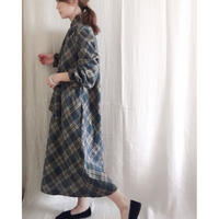 VINTAGE  rame check dress  GRAY x GOLD
