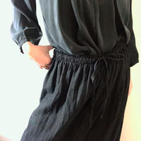 VINTAGE  linen long skirt  BLACK