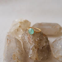 silver925+18kgp round aqua chalcedony ring