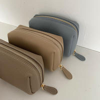Full grain leather cosmetic pouch