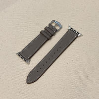 Italian cow leather Apple watch band  -gray-【silver】