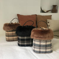 fur plaid handle bag