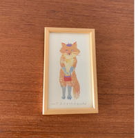 小さな版画絵ayako 「お出かけ」orange