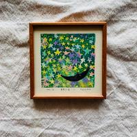 小さな版画絵ayako  「眠り月」2