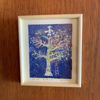 小さな版画絵ayako 「星咲く木」no16