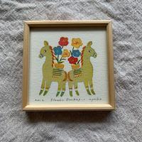 小さな版画絵ayako「Flower   Donkey-1」310-10