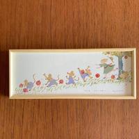 小さな版画絵ayako「りんご狩り」4−2