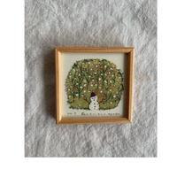 小さな版画絵ayako 「森のスノーマン」127−13