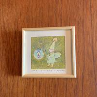 小さな版画絵ayako「ランプを点す」green  no8