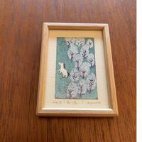 小さな版画絵ayako 白い馬 no3  74-16
