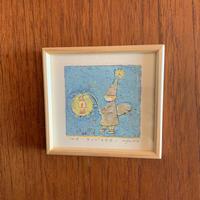 小さな版画絵ayako「ランプを点す」blue  no7